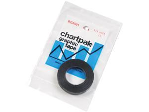 """Chartpak BG2501 Graphic Chart Tape, 1/4"""" x 324"""", Glossy Black"""
