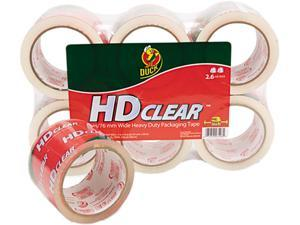 """Duck 00-07496 Heavy-Duty Carton Packaging Tape, 3"""" x 55 yards, Clear, 6/Pack"""