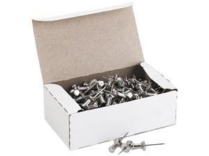 """GEM CPAL5 Aluminum Head Push Pins, Aluminum, Silver, 5/8"""", 100/Box"""