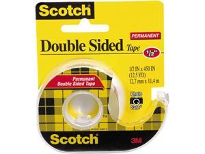 """MMM 137 - Scotch Double Sided Tape With Dispenser 0.50"""" Width x 37.50 ft Length - 1"""" Core - 1 / Roll - Clear"""