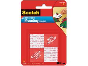 """Scotch 108 Precut Foam Mounting 1"""" Squares, Double-Sided, Removable, 16 Squares/Pack"""