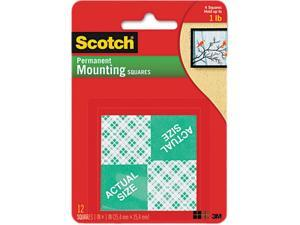 3M 01054 Scotch Permanent Mounting Squares, 1 in x 1 in, White