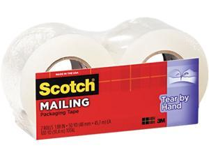 """Scotch 38422 Tear-By-Hand Packaging Tape, 1.88"""" x 50 yards, 1-1/2"""" Core, Clear, 2/Box"""