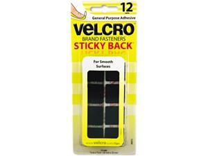 "Velcro 90072 Sticky-Back Hook and Loop Square Fasteners on Strips, 7/8"", Black, 12 Sets/Pack"