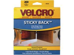 Velcro 90140 Sticky-Back Hook and Loop Dot Fasteners, Dispenser, 3/4 Inch, Beige, 200/Roll