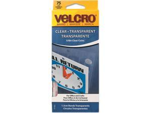 Velcro 91302 Sticky-Back Hook and Loop Fasteners, 5/8 Inch Diameter, Clear, 75/Pack