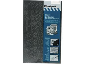 "Chartpak 01130 Press-On Vinyl Numbers, Self Adhesive, Black, 1""h, 44/Pack"