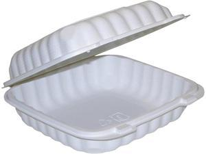 """Pactiv YCN809010000 9"""" x 9"""" x 3"""" Microwavable 1-Compartment Hinged-Lid Takeout Container, White, 120 ct."""
