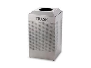 Rubbermaid Commercial                    Silhouette Waste Receptacle, Square, Steel, 29 gal, Silver Metallic