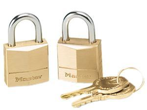 "Master Lock 120T Three-Pin Brass Tumbler Locks, 3/4"" Wide, 2 Locks & 2 Keys/Pack"
