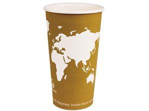 Eco-Products EP-BHC20-WA World Art Renewable Resource Compostable Hot Drink Cups, 20 oz, Tan, 1000/Carton