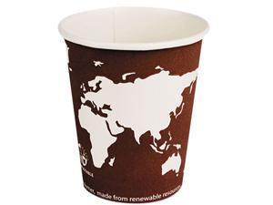 Eco-Products EPBHC8WA World Art Renewable Resource Compostable Hot Drink Cups, 8 oz, Plum, 1000/Carton