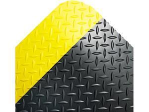 Crown CD0035YB Industrial Deck Plate Anti-Fatigue Mat, Vinyl, 36 x 60, Black/Yellow Border