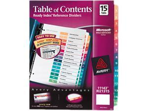 Case of 3 Sets Letter Multi Avery Ready Index Contemporary Table Of Contents Divider 1-5