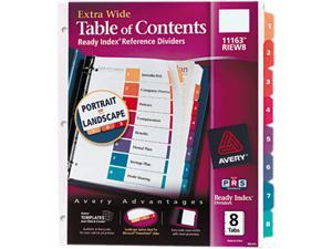 Avery 11163 Extra-Wide Ready Index Dividers, 8-Tab, 9 1/2 x 11, Assorted, 8/Set