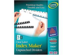 Avery 11436 Index Maker Clear Label Dividers, 5-Tab, Letter, White, 5  Sets/Pack - Newegg com