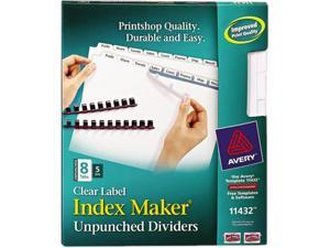 Avery 11432 Index Maker Clear Label Unpunched Divider, 8-Tab, Letter, White, 5 Sets