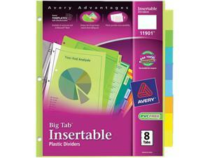 Avery 11901 WorkSaver Big Tab Plastic Dividers, 8-Tab, Letter, Multicolor