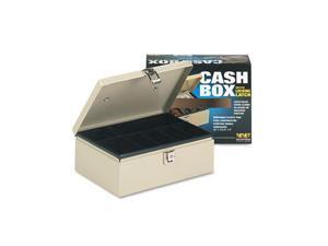 MMF Industries 221612003 Heavy-Duty Steel Cash Box w/7 Compartments, Latch Lock, Sand