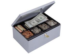 MMF Industries 221618001 Heavy-Duty Steel Low-Profile Cash Box w/6 Compartments, Key Lock, Gray