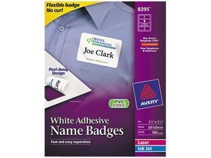 Avery 8395 Flexible Self-Adhesive Laser/Inkjet Name Badge Labels, 2-1/3 x 3-3/8, WE, 160/Pk
