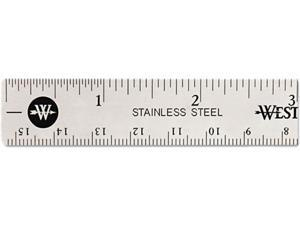 """Westcott 10414 Stainless Steel Ruler w/Cork Back and Hang Hole, 6"""", Silver"""