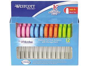 """Westcott Kids' Scissors w/Microban, 5"""" Length, Blunt Tip, Stainless Steel Blade, 12/Pack"""