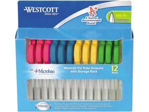 "Westcott Kids' Scissors w/Microban, 5"" Length, Pointed Tip, Stainless Steel Blade, 12/PK"