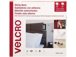 """Velcro VEL-30633-GLO Sticky-Back Fasteners, Removable Adhesive, 0.75"""" x 49 ft, White"""