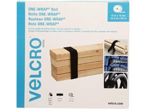 "Velcro VEL-30640-GLO ONE-WRAP Cut-To-Fit Standard-Ties, 0.75"" x 49 ft, Black"