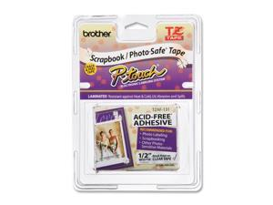 "Brother TZE-AF131 Black on Clear Adhesive Tape - 0.47"" Width x 26.25 ft Length - Thermal Transfer - Clear, Black"