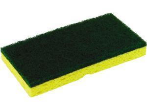 "Continental SS652 Medium-Duty Scrubber Sponge, 3.13"" x 6.25"", Yellow/Green, 5/PK, 8 PK/CT"