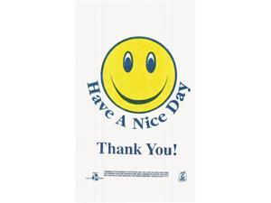 "Barnes Paper Co T1-6SMILEY Smiley Face Shopping Bags, 12.5 microns, 21.00"" x 11.50"", White, 900/Carton"