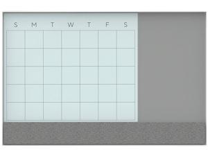 U Brands 3197U00-01 3N1 Magnetic Glass Dry Erase Combo Board, 23 x 35, Month View, White Surface and Frame