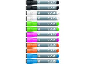U Brands 2913U00-12 Bullet Tip Low-Odor Liquid Glass Markers with Erasers, Assorted Colors, 12/Pack
