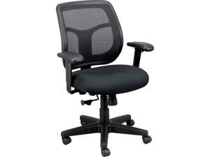 Eurotech MT9400BK Apollo Mid-Back Mesh Chair, Black Seat/Black Back, Black Base