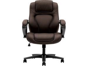 HON HVL402.EN45 HVL402 Series Executive High-Back Chair, Supports up to 250 lbs., Brown Seat /Brown Back, Black Base