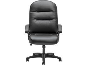 HON H2095.H.PWST11.T Pillow-Soft 2090 Series Executive High-Back Swivel/Tilt Chair, Supports up to 250 lbs., Black Seat/Black Back, Black Base