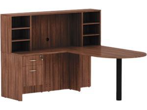 "Alera VA353624WA Valencia Series Reversible Return/Bridge Shell, 29.63"" x 35.00"" x 23.63"", Modern Walnut"