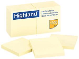 Highland 6549YW Self-Stick Pads, Yellow, 100 Sheets / Pad, 12 Pads / Pack
