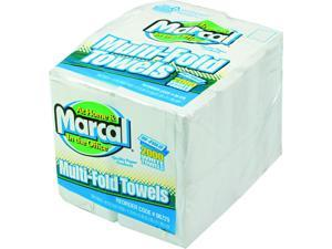 Marcal MAC 6729 Small Steps 100% Premium Recycled Towels, 1-Ply, Multi-fold, White, 250 Sheets/Pack, 8 Packs/Carton