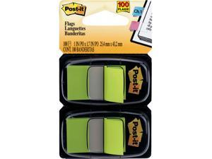 Post-it 680-BG2 Flags, Bright Green, 1 in Wide, 50/Dispenser, 2 Dispensers/Pack