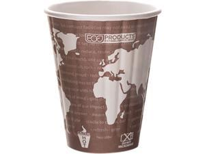 Eco-Products EP-BNHC8-WD 8.00 oz World Art Insulated Hot Cups - Maroon - 800/Carton