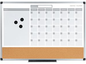 Bi-Silque MB3507186 Bi-Silque 3-in-1 Calendar Planner Dry Erase Board, Aluminum Frame