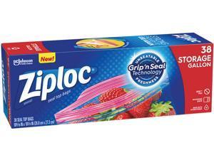 Ziploc 314470BX Double Zipper Gallon Storage Bags, 1.75 mil, 38 Bags