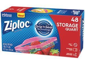 Ziploc 314469BX Double Zipper Quart Storage Bags, 1.75 mil, 48 Bags