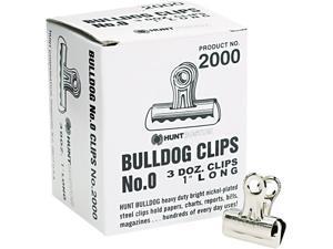 X-ACTO 2000LMR Bulldog Clips, Mini, Nickel-Plated, 36/Box