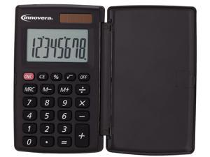 Innovera IVR15921 15921 Pocket Calculator with Hard Shell Flip Cover, 8-Digit, LCD