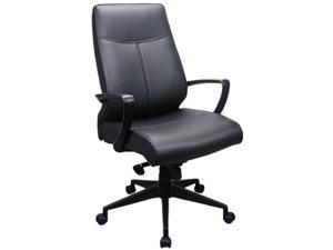 Tempur-Pedic by Raynor TP300 Leather High-Back Chair, Black Leather Seat / Back