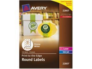 """Avery 22807 Easy Peel Print-to-the-Edge Label 2"""" Diameter - 120 / Pack - Circle - 12/Sheet - Laser, Inkjet - White"""